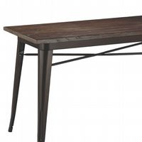 Retro Tolix Style Brown Metal table With Wooden top- Brown